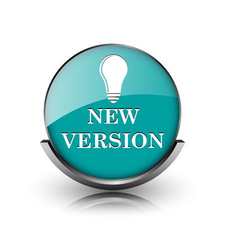 New version icon. Metallic internet button on white background.  photo