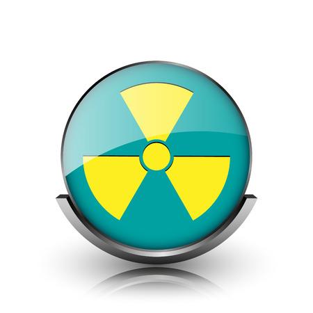 Radiation icon. Metallic internet button on white background.  photo