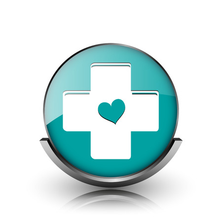 Cross with heart icon. Metallic internet button on white background.  photo