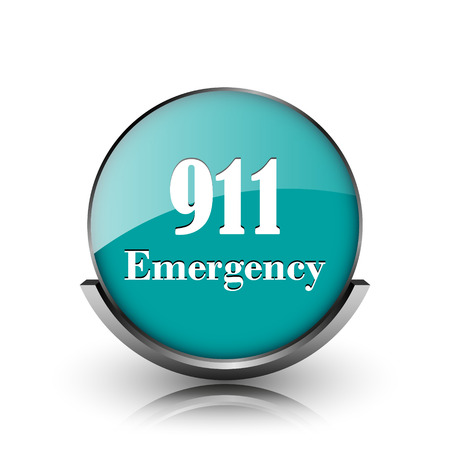 911 Emergency icon. Metallic internet button on white background.  photo