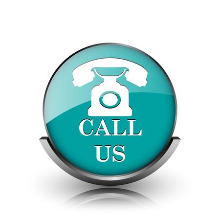 Call us icon. Metallic internet button on white background.  photo