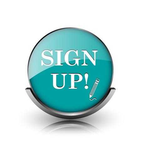 sign up icon: Sign up icon. Metallic internet button on white background.  Stock Photo