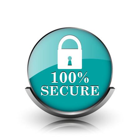 100 percent secure icon. Metallic internet button on white background.