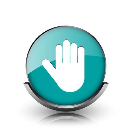Stop icon. Metallic internet button on white background.  photo