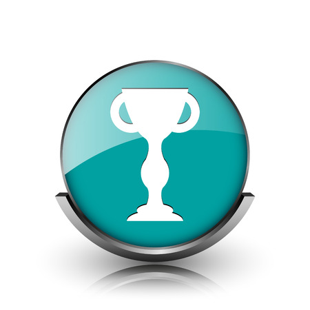 Winners cup icon. Metallic internet button on white background.  photo