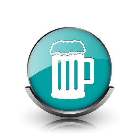 Beer icon. Metallic internet button on white background.