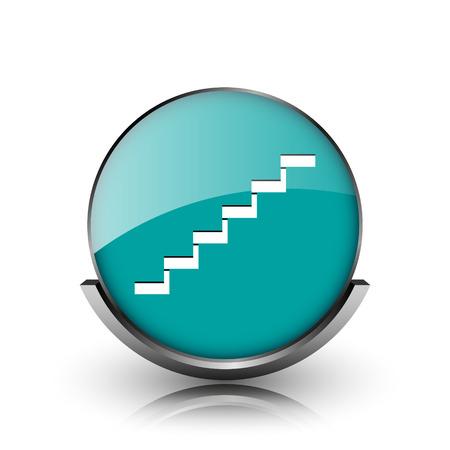 metallic stairs: Stairs icon. Metallic internet button on white background.
