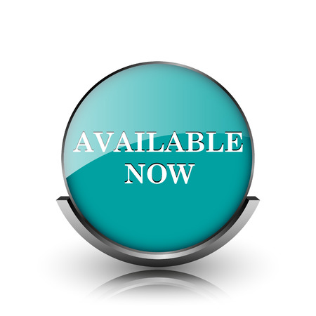Available now icon. Metallic internet button on white background.  photo