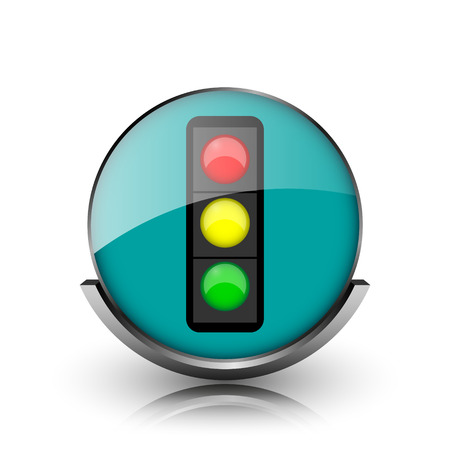 Traffic light icon. Metallic internet button on white background.  photo