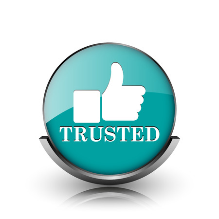 trusted: Trusted icon. Metallic internet button on white background.  Stock Photo