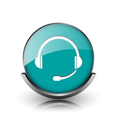 Headphones icon. Metallic internet button on white background.  photo
