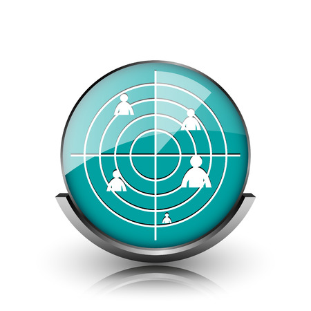 Radar icon. Metallic internet button on white background.  photo