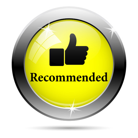 recommendations: Metallic shiny glossy icon isolated on white background Stock Photo