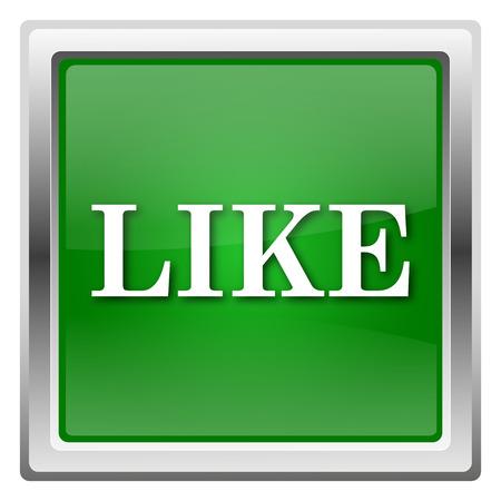 Green shiny glossy icon isolated on white background photo