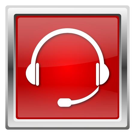 Red shiny glossy icon isolated on white background photo