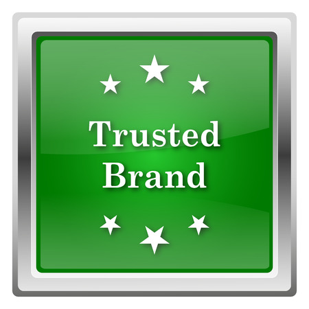 trusted: Green shiny glossy icon isolated on white background Stock Photo
