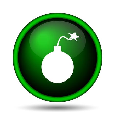 Bomb icon. Internet button on white background.  photo