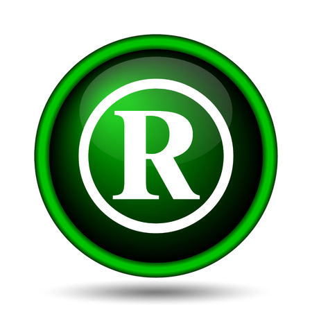 letter r: Registered mark icon. Internet button on white background.