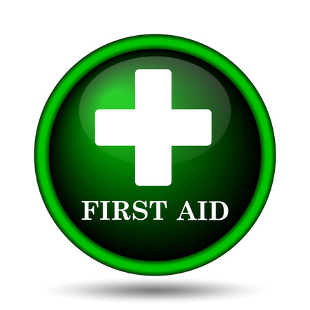 navigation aid: First aid icon. Internet button on white background.  Stock Photo