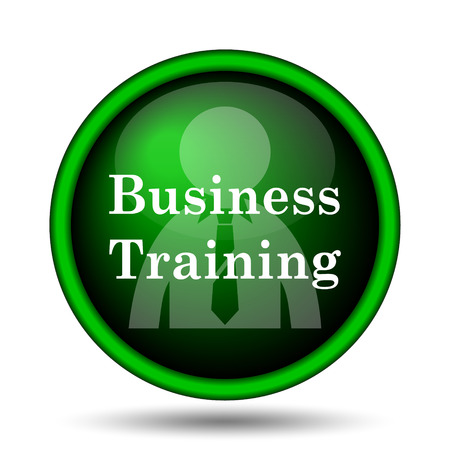 push room: Business training icon. Internet button on white background.  Stock Photo