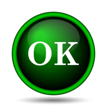 OK icon. Internet button on white background.  photo