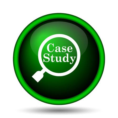 study icon: Icono Estudio de caso. Bot�n de Internet sobre fondo blanco.