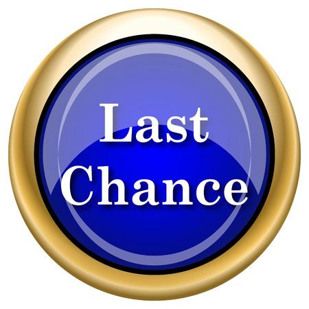 last chance: Blue shiny glossy icon on white background