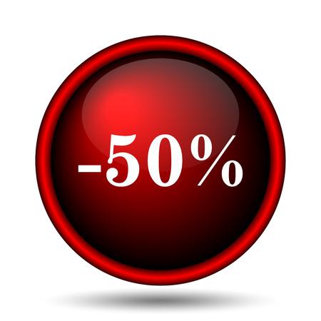 50 percent discount icon. Internet button on white background.  photo
