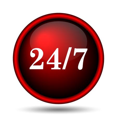red ribbon week: 24 7 icon. Internet button on white background.  Stock Photo