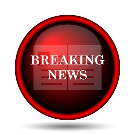 Breaking news icon. Internet button on white background.  photo