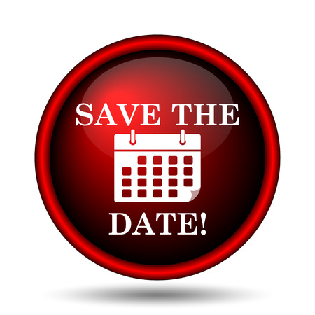 red ribbon week: Save the date icon. Internet button on white background.  Stock Photo