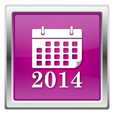 2014 calendar Magenta shiny glossy icon isolated on white background photo