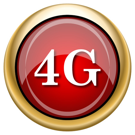 4G Red shiny glossy icon on white background photo
