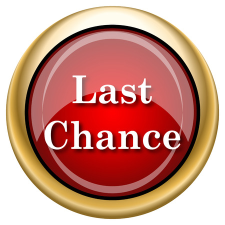 last chance: Last chance Red shiny glossy icon on white background