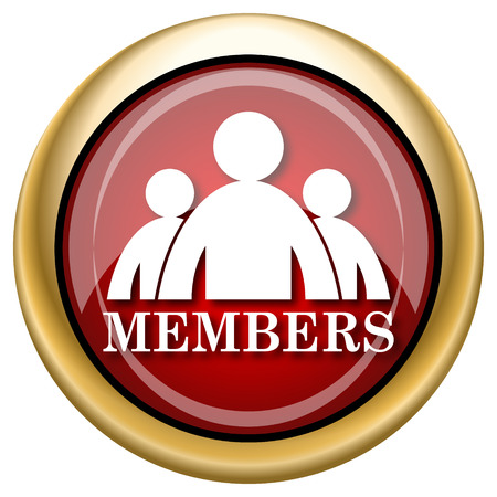 private club: Members Red shiny glossy icon on white background