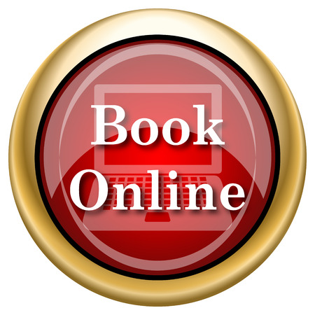 Book Online Red shiny glossy icon on white background photo
