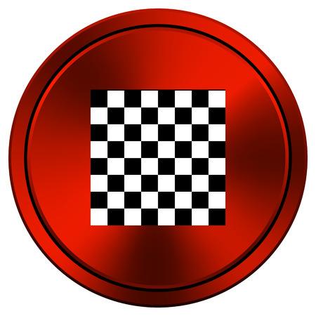 red metallic: Checkered Red metallic round icon on white background Stock Photo