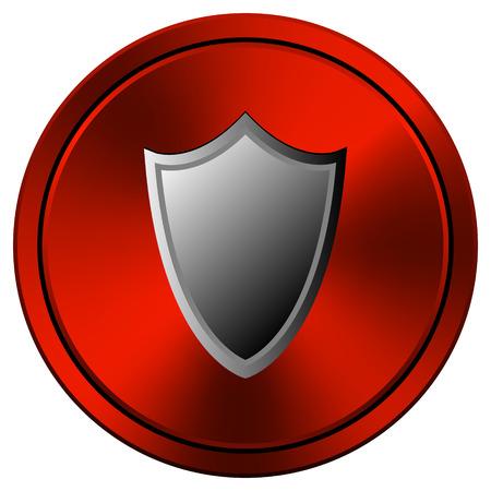 Shield Red metallic round icon on white background photo