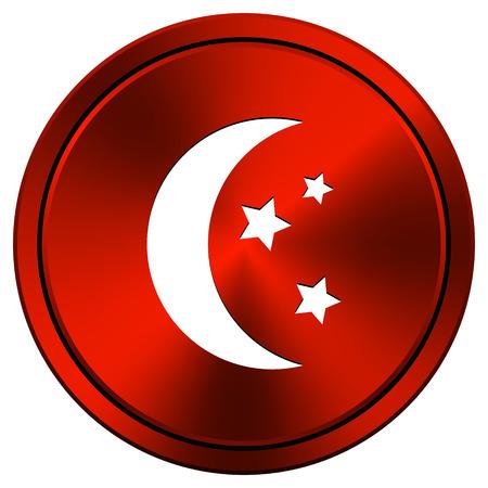 red metallic: Moon and stars Red metallic round icon on white background