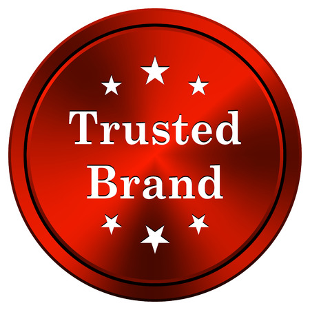 trusted: Trusted brand Red metallic round icon on white background