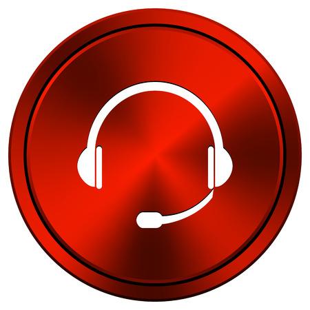 Headset Red metallic round icon on white background photo