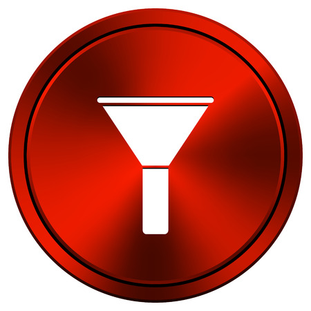 Bottleneck Red metallic round icon on white background photo