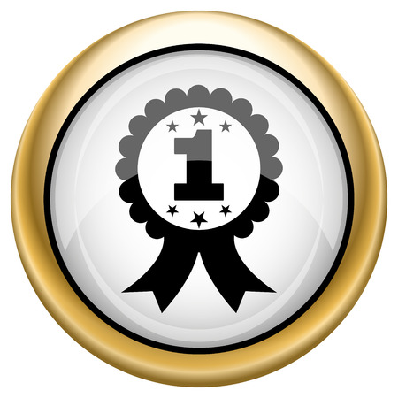 1st badge Shiny glossy icon. Internet button on white background photo