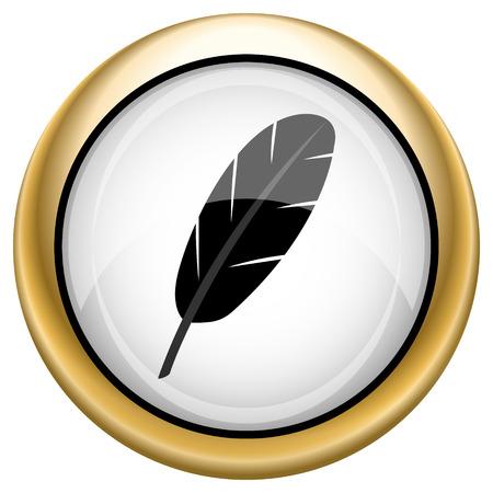 Feather pen Shiny glossy icon. Internet button on white background photo