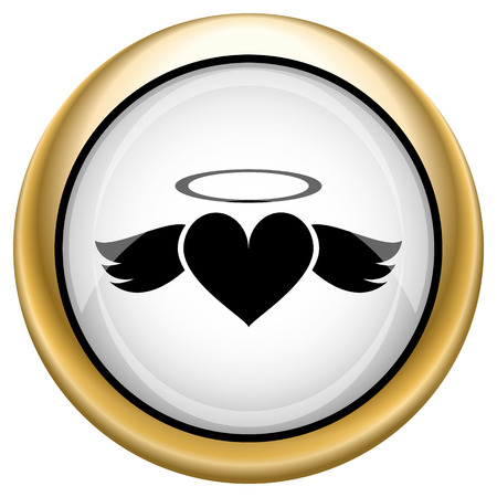 Heart angel Shiny glossy icon. Internet button on white background photo