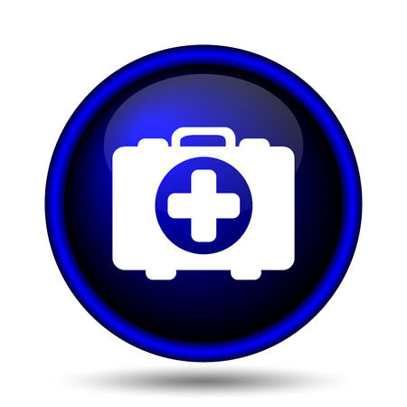 first aid kit key: Medical bag icon. Internet button on white background.