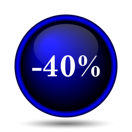 40 percent discount icon. Internet button on white background.  photo