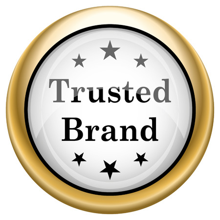 trusted: Shiny glossy icon. Internet button on white background Stock Photo