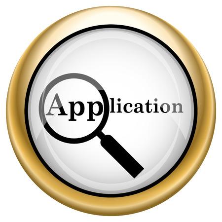 Application Shiny glossy icon. Internet button on white background photo
