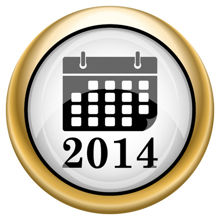 2014 calendar Shiny glossy icon. Internet button on white background photo